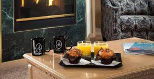 Breakfast and Coffee in Grand Whirlpool Suite living room