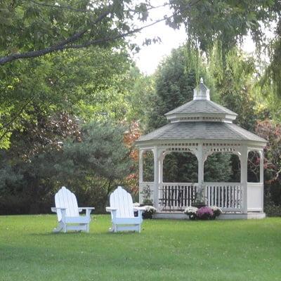 Adirondack chairs and gazebo