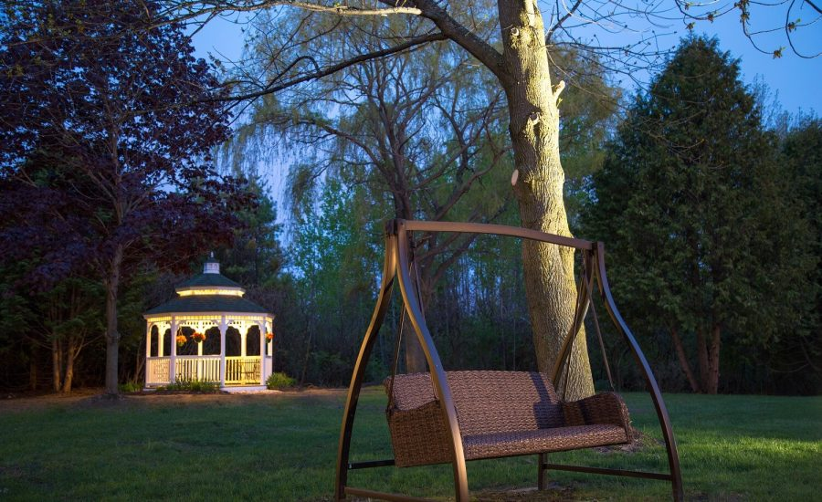Gazebo and Swingset area at night